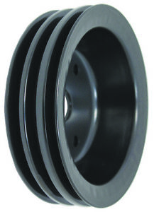 Sbc Small Block Chevy 3 Groove Black Steel Short Water Pump Crank Pulley 327 350