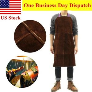 Leather Welding Work Apron Heat Resistant Flame Retardant Welder Bib 24 x36