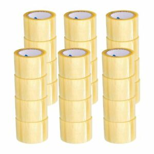 48 Rolls 3 Inch X 110 Yards Yellow Transparent Hybrid Packing Tape 1 6 Mil