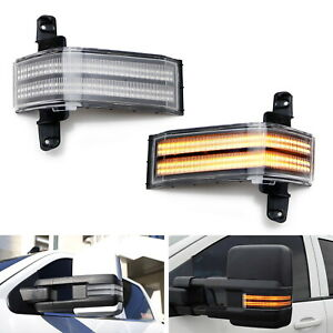Dual Row Amber Led Strip Tow Mirror Marker Lights For Chevy Silverado Gmc Sierra