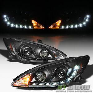 For Black 2002 2006 Toyota Camry Led Drl Running Projector Headlights Headlamps