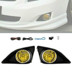 For 2009 2010 Toyota Corolla Yellow Bumper Fog Light Lamp W Switch Wire Bezel