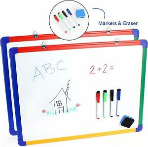 Ibexstationers 2 Pack Wall Mounted Kids18x24 Magnetic Whiteboard With Bonus