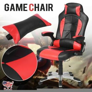 Office Gaming Chair Racing Recliner Bucket Seat Computer Desk Footrest New Us