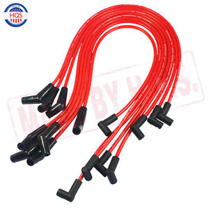Red Spiral Core Spark Plug Wires 45 Degree End For Bbc Chevy 396 427 454 502 New