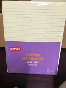 Staples Glue Top Writing Pads Letter Ruled Yellow 8 1 2 X 11 3 4 72 Pads