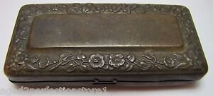 Antique Brass Trinket Box Small Hinged Metal Case Lovely Floral Flower Design
