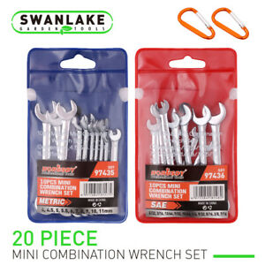 20pc Mini Wrench Set Metric Sae Ignition Spanner Open Box End Small Equipment