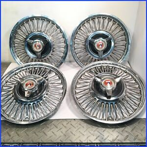 1964 1965 Mustang Oem 60 Spoke 13 Wire Hubcaps W ford Logo Spinners set Of 4