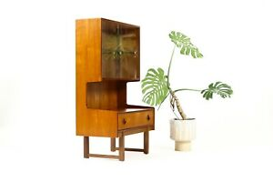 Danish Modern Mid Century Teak Display Cocktail Cabinet Sliding Glass Doors