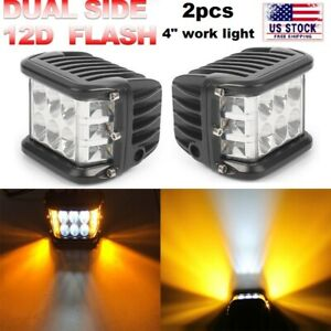 2x 4 Inch Work Cube Side Shooter Led Light Bar Pod White Amber Strobe Lamp Suv