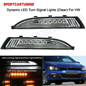 For Vw Scirocco 2008 2014 Dynamic Clear Led Turn Signal Daytime Running Lights