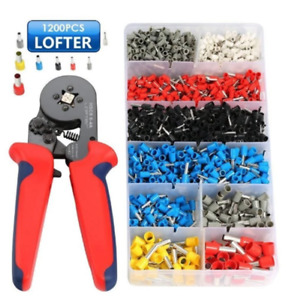 Ferrule Crimper Crimping Plier Tool Kit With 1200pcs Wire Terminal Connector Set