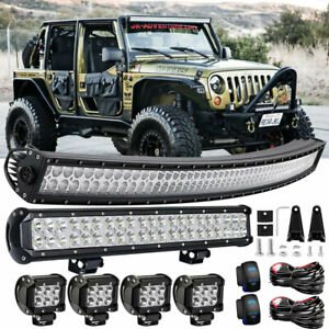 Roof 50 Curved Light Bar Off Road 21 Lower 4 Pods Cube For Jeep Cherokee Xj
