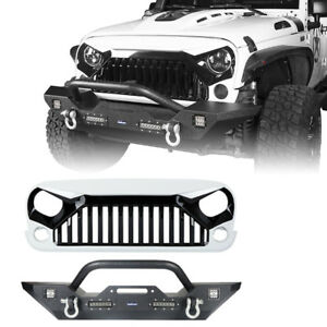 Front Bumper Grille W 4x Led Lights D rings For 2007 2018 Jeep Wrangler Jk