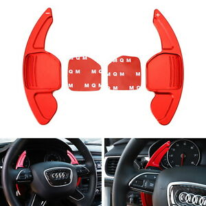 Red Steering Wheel Paddle Shifter Extensions For Audi A3 A4 A5 A6 A7 A8 Q3 Q5 Q7