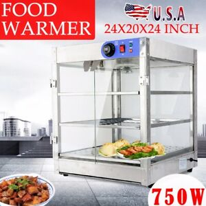Commercial Food Warmer Wide Display Cabinet 3 Tier Countertop Case Pizza Pastry