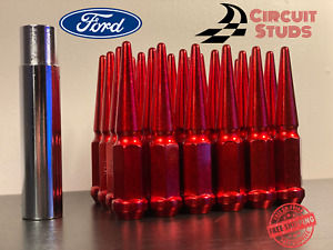 14x1 50 Red Spike Lug Nuts 32 Pieces For 8 Lug Ford F 250 F 350