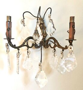 Pair Antique French Crystal Sconces Electric Wall Lights