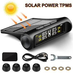 Wireless Solar Tpms Car Tire Pressure Lcd Monitoring System W 4 External Sensors