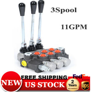 New 3 Spool Hydraulic Control Valve Double Acting 13 Gpm 3600 Psi Bspp Ports
