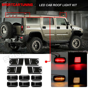 10pcs Smoked Led Top Roof Cab Marker Light Cover For 2003 2009 Hummer H2 h2 Sut