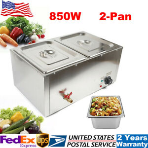 850w Commercial Electric Food Warmer Steam Table Steamer Buffet Countertop 2 pan