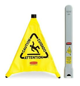 Rubbermaid Commercial Yellow Pop up Safety Cone Multi lingual Caution Tube