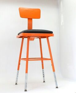 Mid Century Modern Orange Drafting Or Bar Stool Chair Adjustable Height Chrome