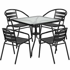 31 5 Square Glass Metal Table With 4 Black Metal Aluminum Slat Stack Chairs