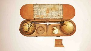 C1800 1830 French Wood Cased Hanging Gold Silver Pan Scale W Weights