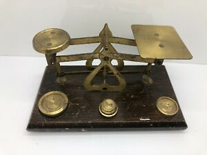Small Vtg Brass And Wood Postal Scale 3 Weights 2 Oz 1 Oz And 1 2 Oz England