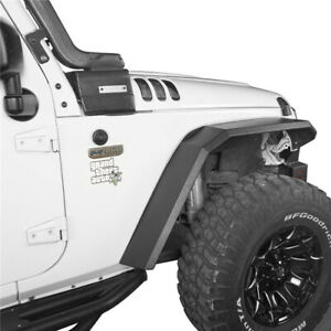 Flat Style Front Rear Fender Flares Textured Steel For Jeep Wrangler Jk 07 18