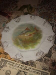 Antique Fish Platter Old China Plate Vintage Pike Trout Hunting Pond Peach