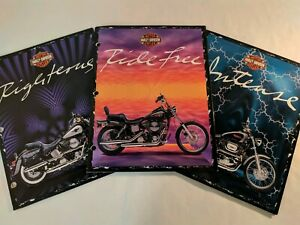 Vintage Mead Trapper Keeper Harley Davidson Folder Motorcycle Set Of 3 1996