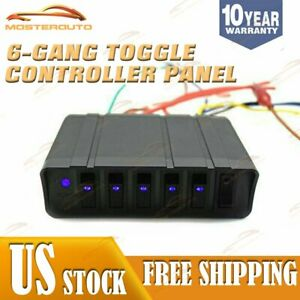 New 12v Switch Box Rocker Emergency Strobe Light 6 Gang Toggle Controller Panel