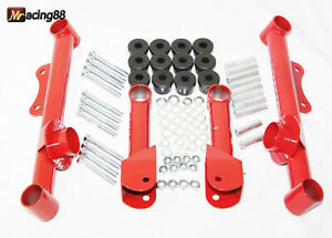 Racing Rear Upper Lower Tubular Control Arms For 79 04 Ford Mustang Gt Lx Red