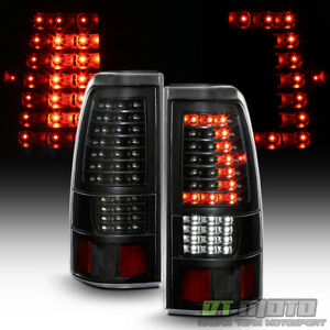 Black 1999 2002 Chevy Silverado 99 06 Gmc Sierra c strip Led Tail Lights Lamps