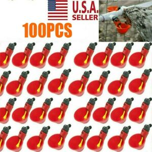 100pcs Poultry Water Drinking Cups Chicken Hen Plastic Automatic Drinker Usa