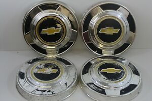 Vintage 1973 87 Chevy 1 2 Ton Pickup Truck Hubcaps Wheel Covers Chrome 2 L3