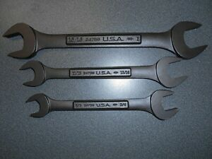 Nos Craftsman Industrial Black Oxide 3pc Double Open end Set Made In Usa