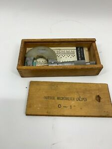 Nsk Outside Micrometer 0 1 0 001 Made In Japan Aa02 Wood Box Vintage