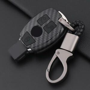 For Mercedes Benz Carbon Fiber Black Car Key Case Cover Fob Holder Accessories