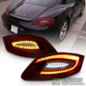 2005 2008 Porsche Boxster 987 06 08 Cayman Red Smoke Led Tube Tail Lights Lamps