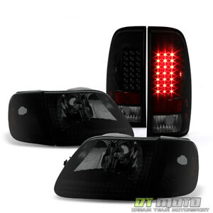 Black Smoked 1997 2003 Ford F150 Headlights led Tail Lights Lamps Left right