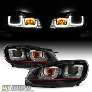 2010 2014 Vw Golf Gti Red Stripe Edition Led Drl Tube Projector Headlights 10 14