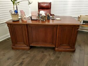 Executive Office Desk With Matching File Cabinet And Bradington Young Chair
