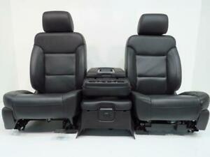 Chevy Silverado Gmc Sierra Seats Black Leather Jump Seat Console 2018 2017 2014