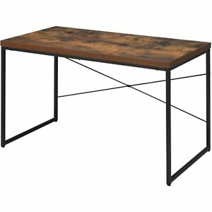 Rectangular Wooden Desk With Metal Base Weathered Oak Brown And Black