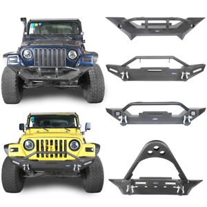 Front Bumper W 2x Led Lights Winch Plate Steel For Jeep Wrangler 1997 2006 Tj